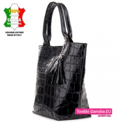 Bardzo pojemna czarna torba damska ze skóry krokodyla
