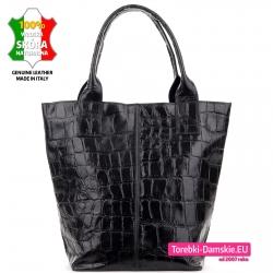 Miejska czarna torba damska shopper faktura skóry aligatora