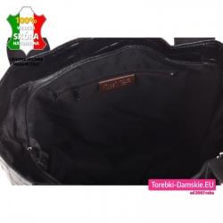 Torba ze skóry zamykany suwakiem czarny shopperbag z kieszenią i portmonetką wewnątrz