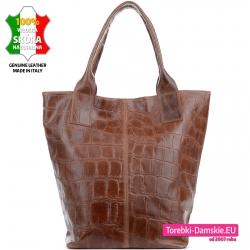 Duża torba na ramię - shopper w kolorze brązowym
