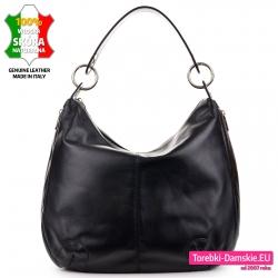 Czarna torba na ramię duży stylowy worek z miękkiej skóry