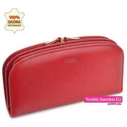 Czerwony portfel damski skórzany z biglem