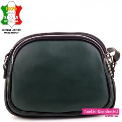 Włoska zielona mała torebka damska ze skóry