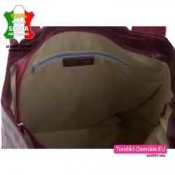 Bordowa torba ze skóry - duży model A4 z kieszenią zamykaną wewnątrz