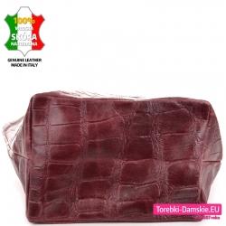 Bordowa torba shopper z płaskim szerokim spodem