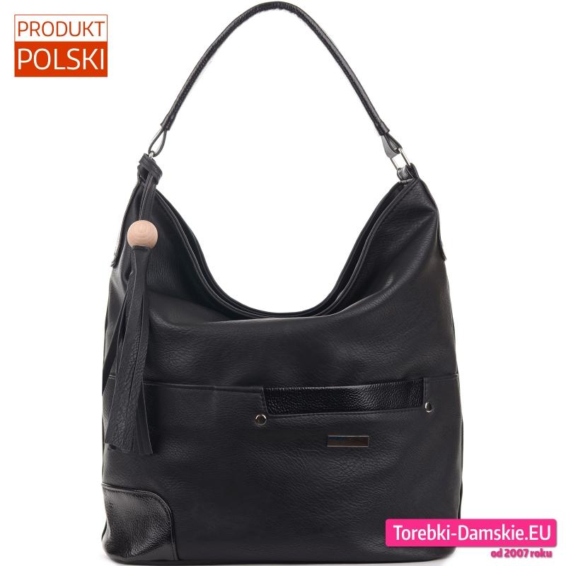 Czarna torba - duży worek na ramię z chwostem