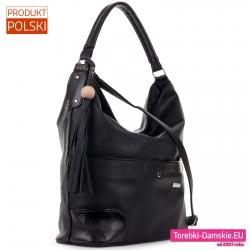 Duża czarna torba damska - worek z chwostem i paskiem dopinanym