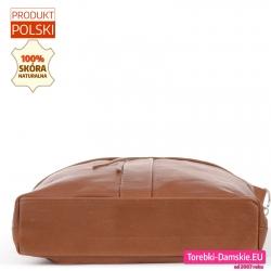 Skórzana torba z prostokątnym płaskim spodem usztywnionym