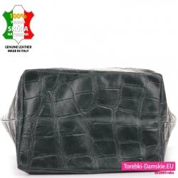 Szeroki, płaski, prostokątny spód dużej zielonej torby damskiej