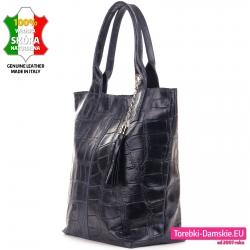 Bardzo pojemna modna torba shopperbag w kolorze granatowym