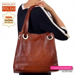 Duża torba na ramię w kolorze brązowym pojemny model