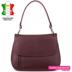 Skórzana torebka średniej wielkości w kolorze burgund