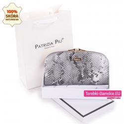 Elegancki szary portfel damski z pudełkiem i torebką prezentową