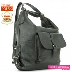 Plecako - torba ciemnozielona polska ze skóry naturalnej