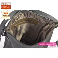 Skórzany torbo-plecak zielony zamykany zamkiem błyskawicznym z kieszeniami wewnątrz