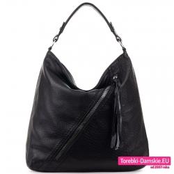 Czarna torba duży worek z ukośnym suwakiem