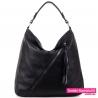 Duża czarna torba - worek z ukośnym suwakiem - 89,00zł
