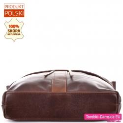 Pojemny model skórzanej torby damskiej z płaskim sztywnym spodem