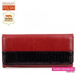 Czerwono - czarny duży skórzany portfel damski