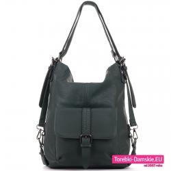 Zielona torba damska i plecak w jednym ciemny odcień koloru
