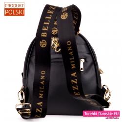 Czarny plecak damski szerokie paski regulowane z napisami