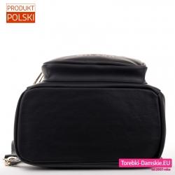 Spód czarnego damskiego plecaka - szeroki i usztywniony