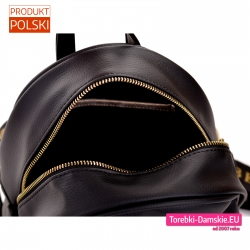Plecak czarny ze złotym zamkiem błyskawicznym