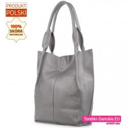 Skórzany shopper w kolorze srebrnym