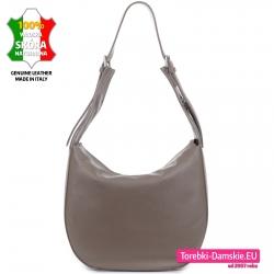 Włoska torba damska w kolorze cappuccino o owalnym kształcie