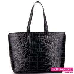 Czarna torba na ramię - duży model skóra krokodyla, mieści A4