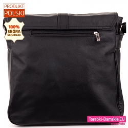 Listonoszka - torba czarna skórzana z kieszenią zamykaną