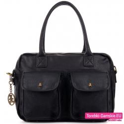 Czarna torba A4 z dwoma kieszeniami z klapami z przodu