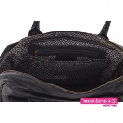 Duża pojemna torba damska z pięcioma kieszeniami wewnątrz