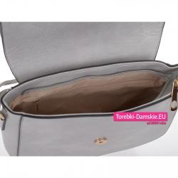 Torebka szara z klapą i zamknięciem na suwak