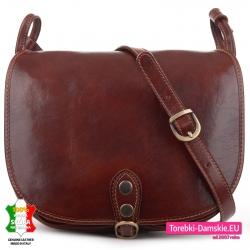 Pojemna brązowa skórzana torba damska z klapą wysoka jakość