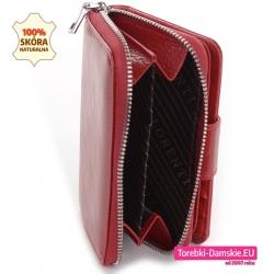 Czerwony portfel damski ze skóry - średnia wielkość, przegroda na monety z suwakiem