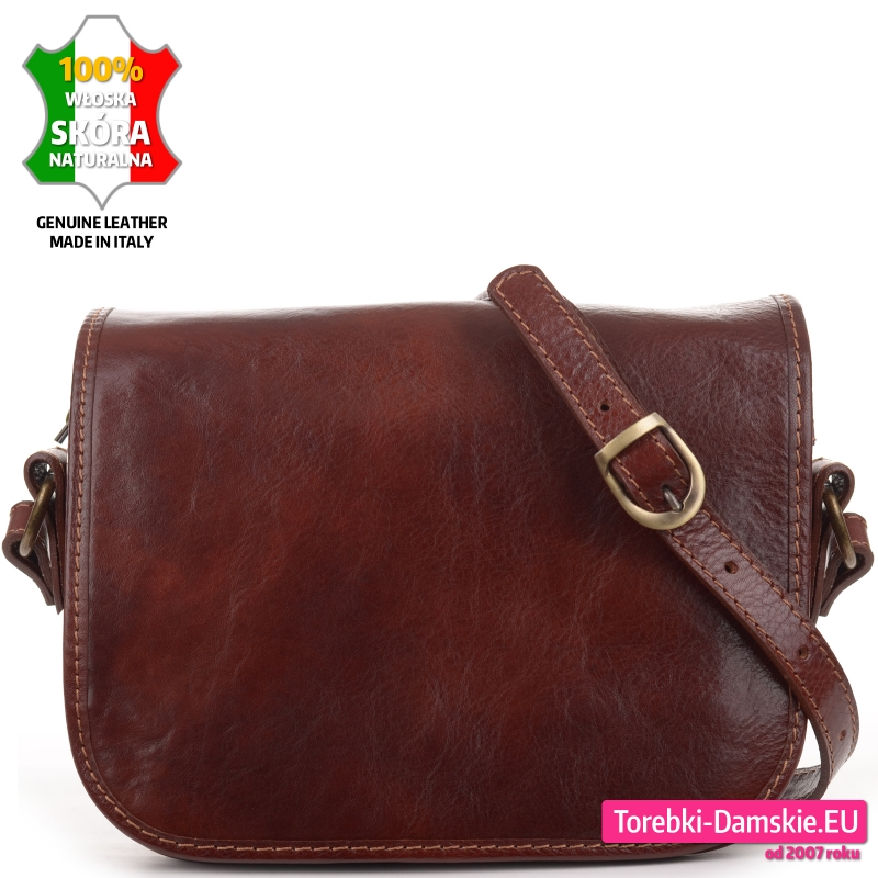 Skórzana brązowa prostokątna włoska torebka listonoszka z klapą