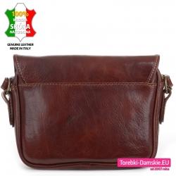 Kasztanowa brązowa torebka z wysokiej jakości skóry