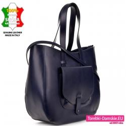 Skórzana torba damska A4 w kolorze grantaowym