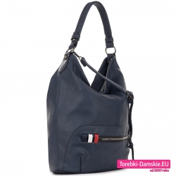 Granatowa torba worek na ramię albo do przewieszenia kolorowe paseczki ozdobne