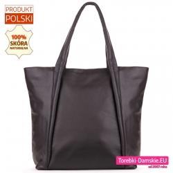 Skórzana torba shopper ciemny brąz gorzka czekolada