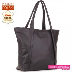 Damska torba typu shopper z miękkiej skóry duży model