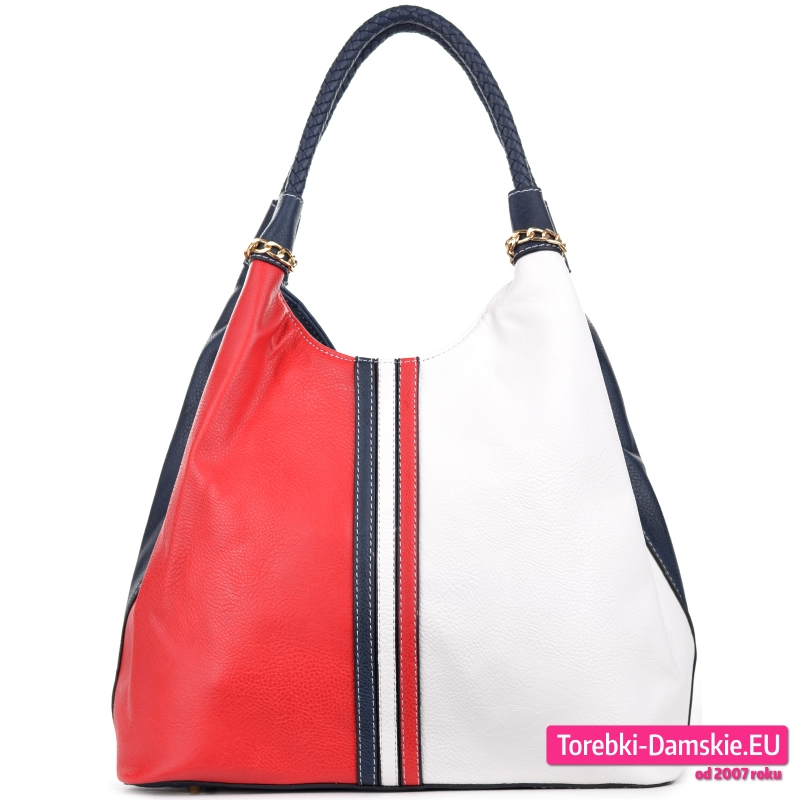 Czerwono - biało - granatowa torebka damska na ramię