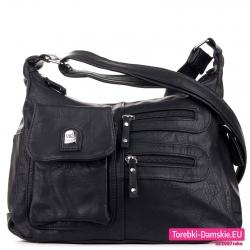 Czarna torebka damska listonoszka dwukomorowa z kieszeniami z przodu