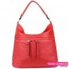 Czerwona torebka damska - worek z dwoma kieszeniami z przodu - 89,00zł