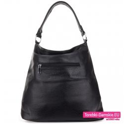 Worek w kolorze czarnym - torba damska z kieszenią z tyłu