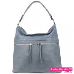 Błękitna torba damska z dwoma srebrnymi suwakami z przodu