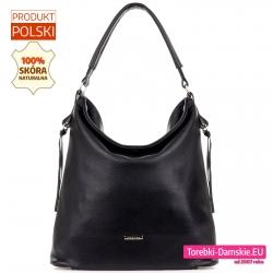 Czarna damska torba duży worek z miękkiej skóry naturalnej