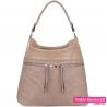 Beżowa torba damska - pojemny model z dwoma kieszeniami z przodu - 89,00zł