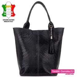 Duży shopper czarna torba damska miejska skórzana